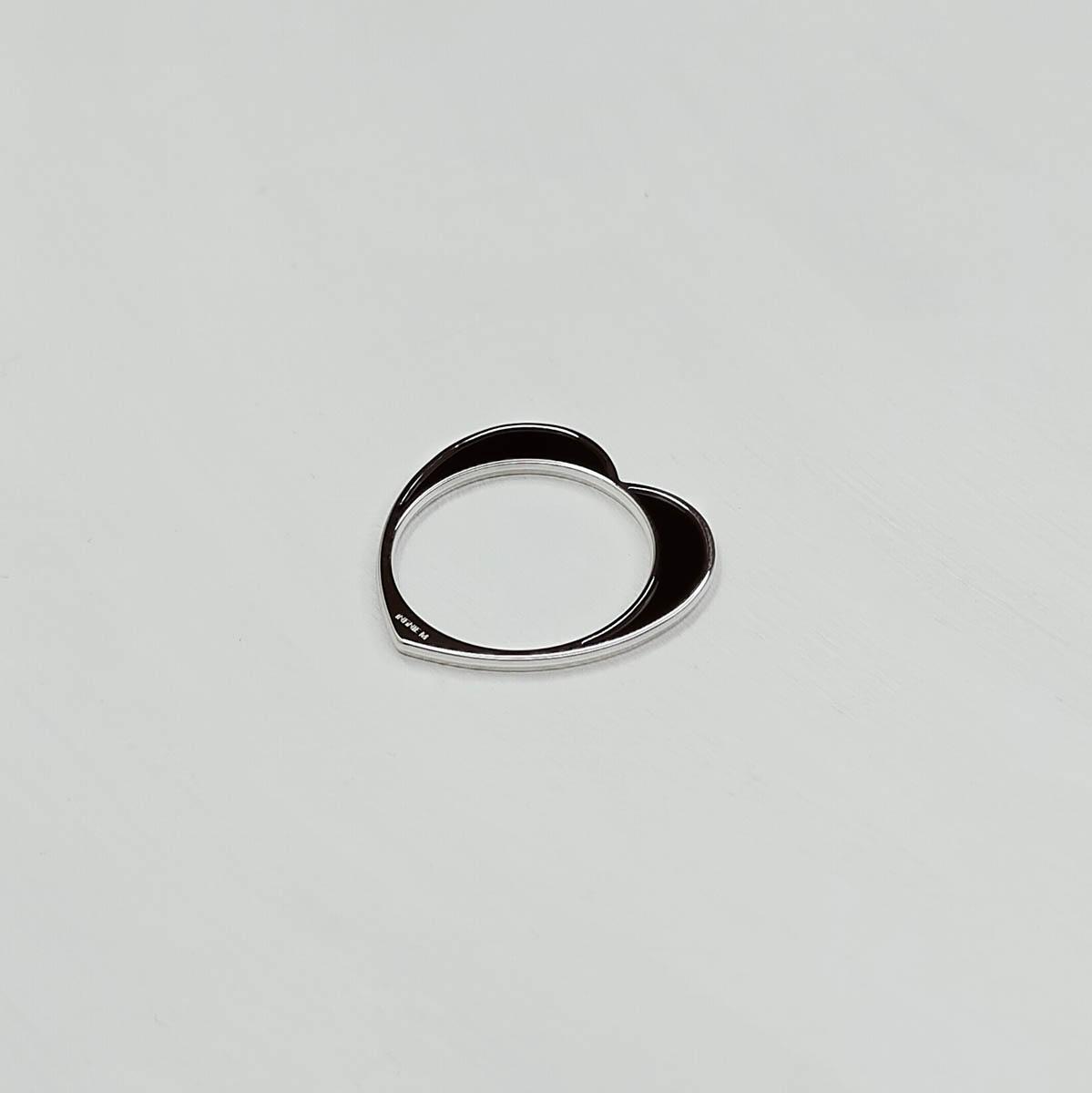 Bague Cœur Argent Laquée Noir