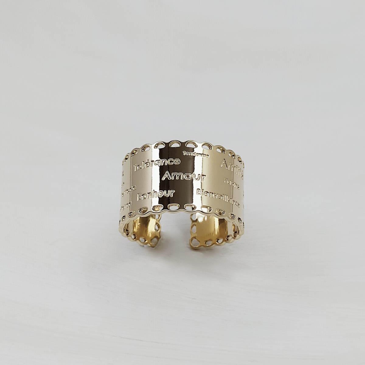 Bague «Dentelle de l'amour» plaquée or – Gravée