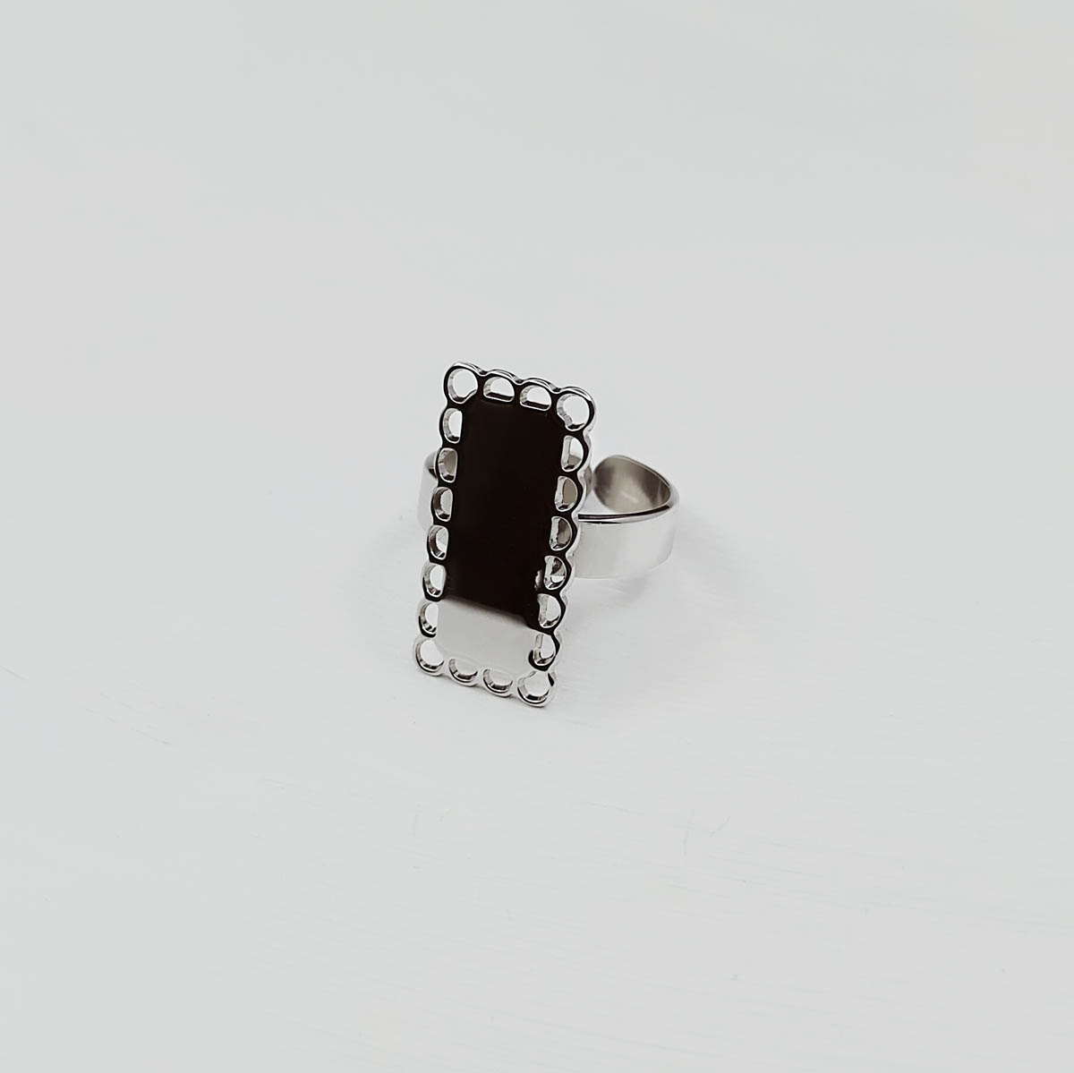 Bague Dentelle Argent Rectangle