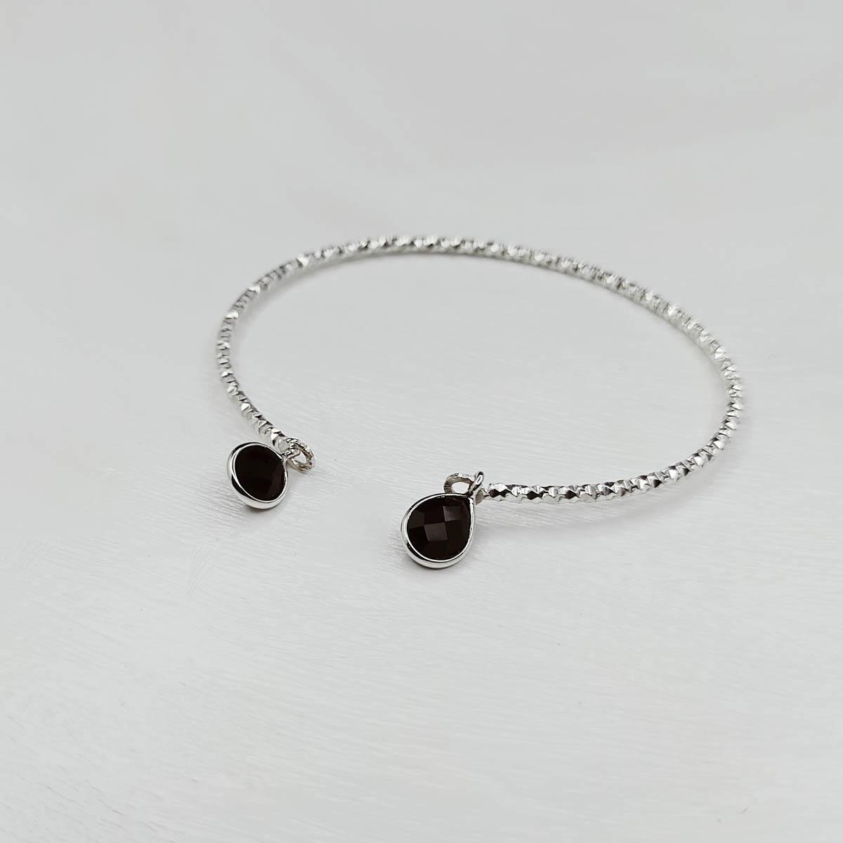 Bracelet Jonc Argent et Onyx