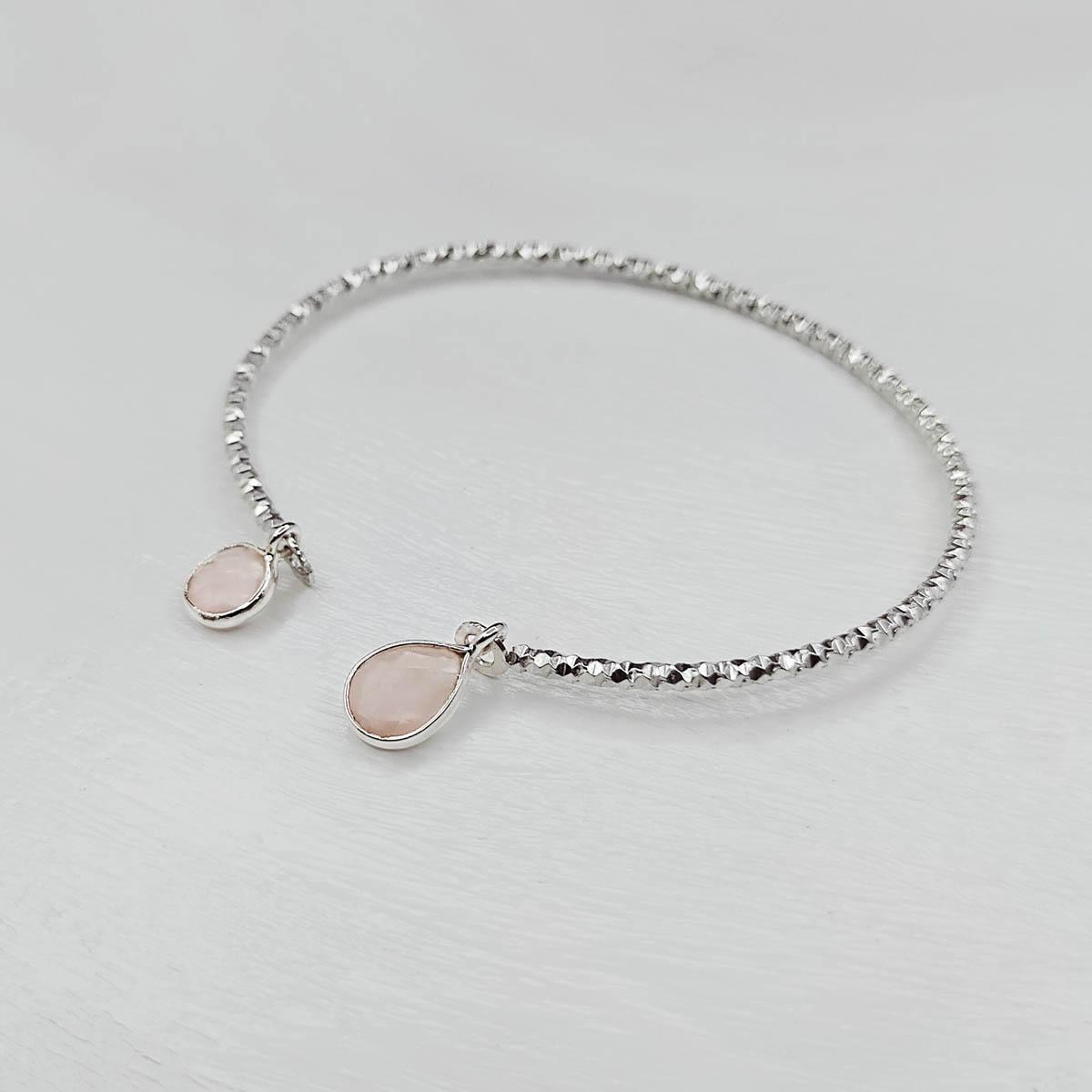 Bracelet Jonc Argent et Quartz Rose