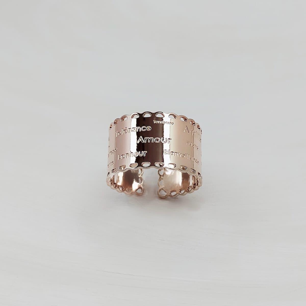 Bague «Dentelle de l'amour» plaquée or rose