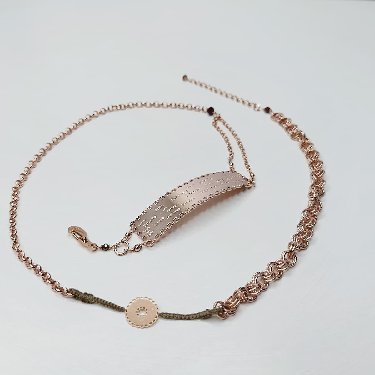 Bracelet / Collier «Dentelle de l'amour» gravé – plaqué or rose