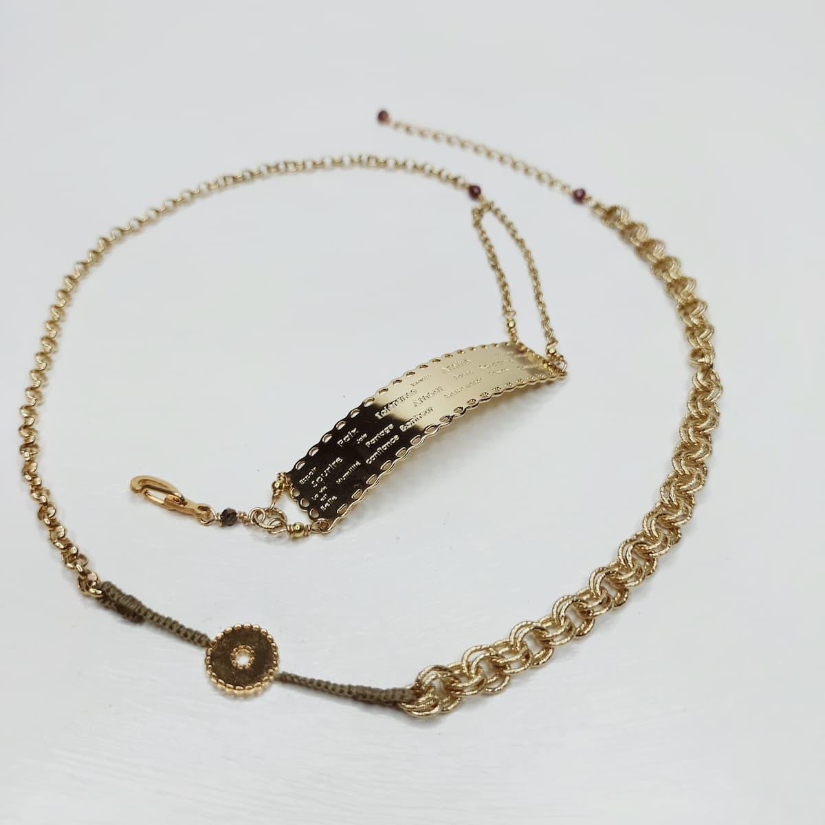 Bracelet / Collier «Dentelle de l'amour» gravé – plaqué or