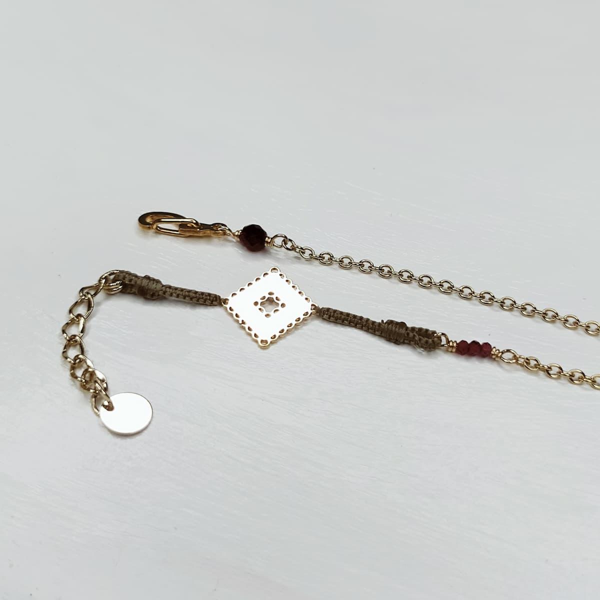 Bracelet «mini-dentelle» plaquée or – carrée