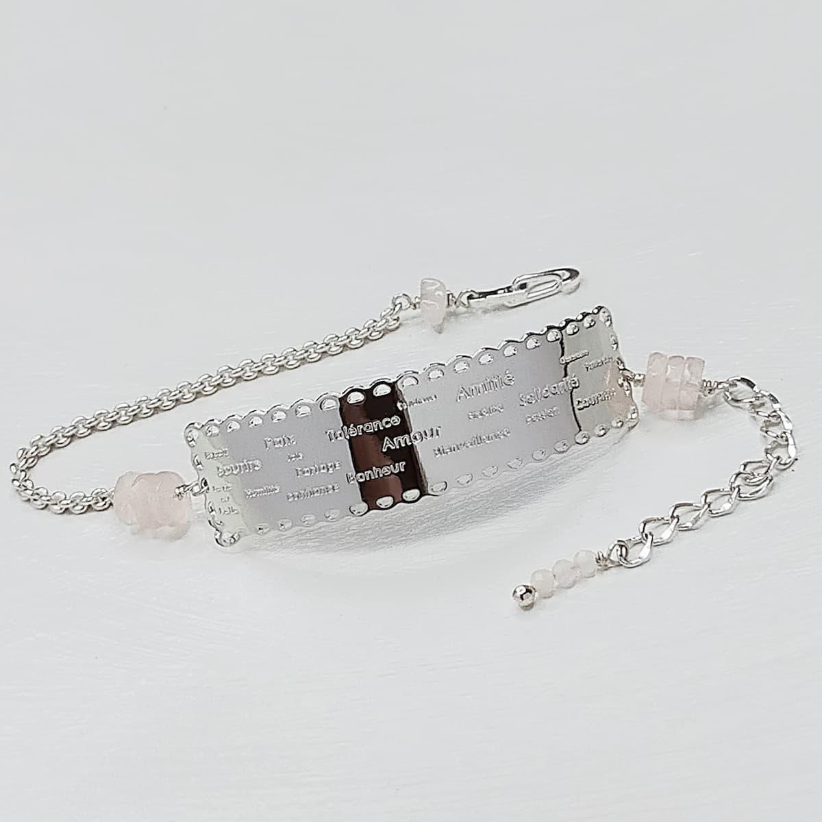 Bracelet «dentelle de l'amour» et pierres naturelles Quartz-Rose