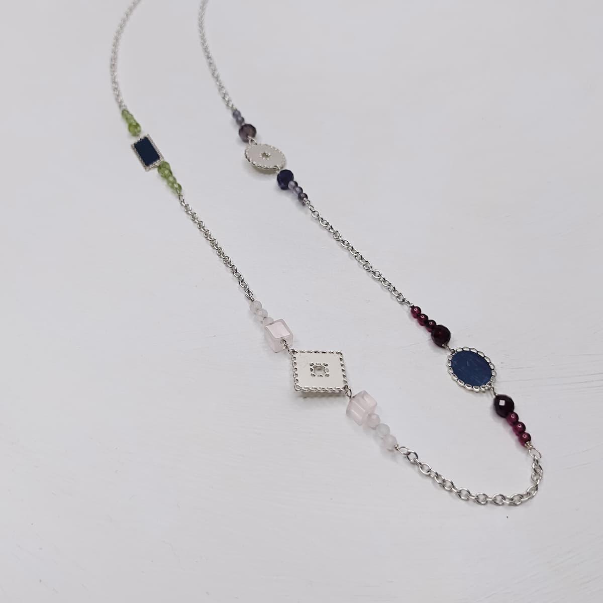Collier «mini-dentelles» – plaqué argent et pierres naturelles