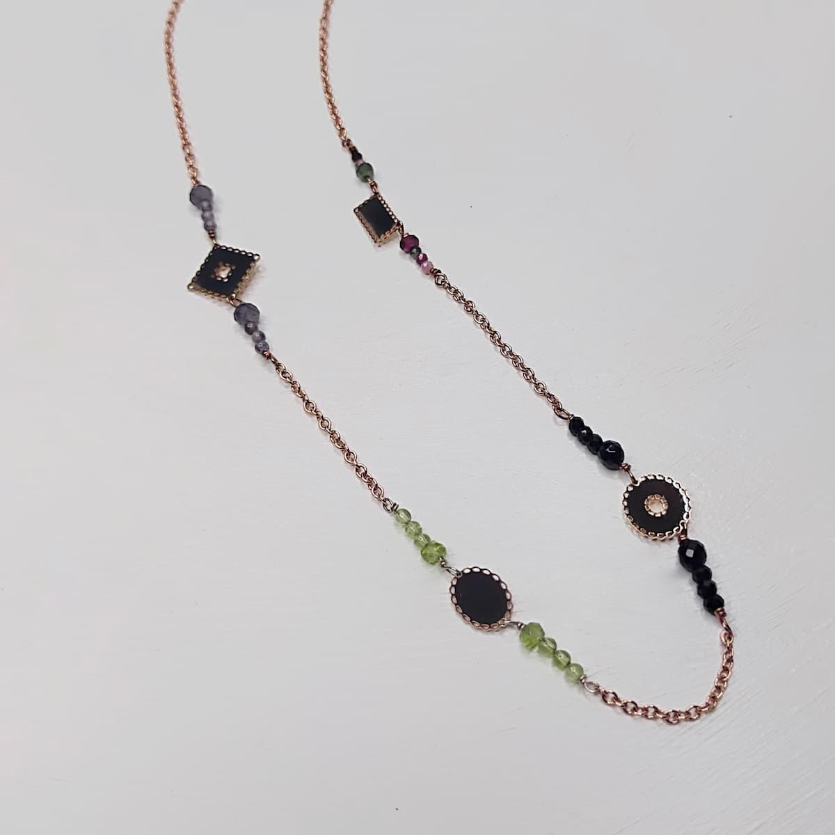 Collier «mini-dentelles» – plaqué or rose et pierres naturelles