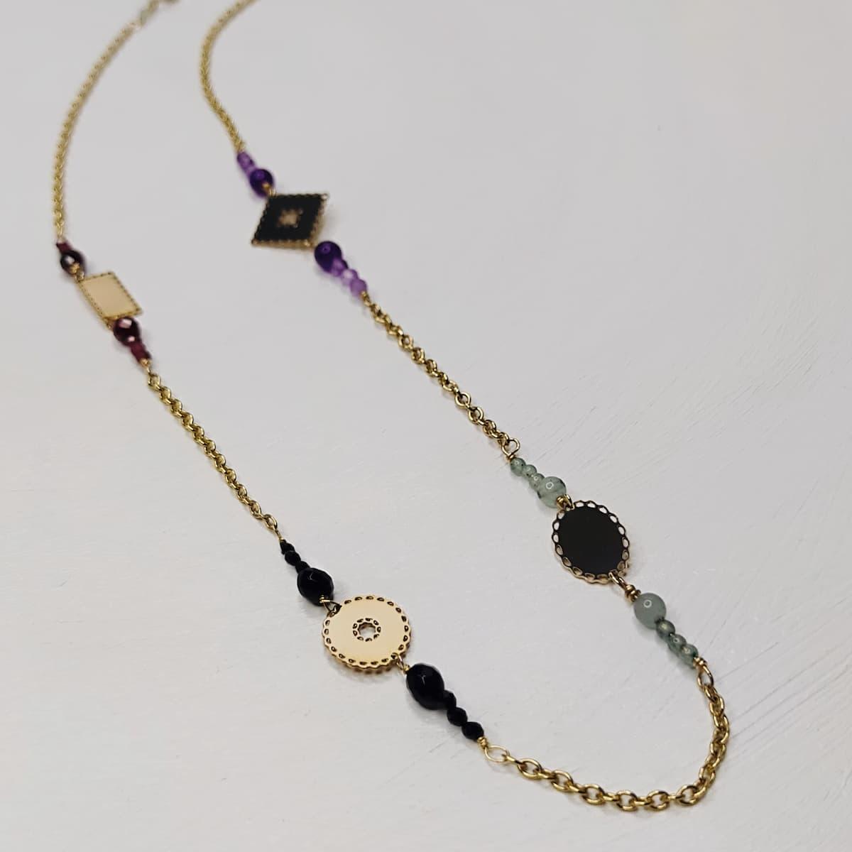 Collier «mini-dentelle» – plaqué or et pierres naturelles